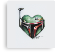 Boba Fett Star Wars Heart Canvas Print