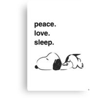 snoopy - peace love sleep Canvas Print