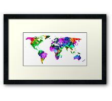 VIBRANT MAP of the WORLD Framed Print