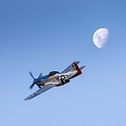 P51 over the moon by Peter Whitworth