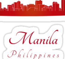 Manila skyline in red Sticker