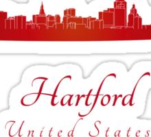 Hartford skyline in red Sticker