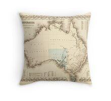MAP of MYSTERIOUS AUSTRALIA  c. 1850 Throw Pillow