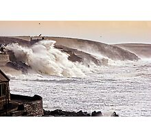The Battering Of Porthleven by Storm Charlie 8.1.14 Photographic Print