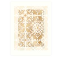 White Doodle Pattern on Sepia Ink Art Print