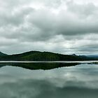 Hinze Dam reflections by Peter Doré