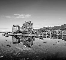 Eilean Donan Castle Black and White by Chris Thaxter