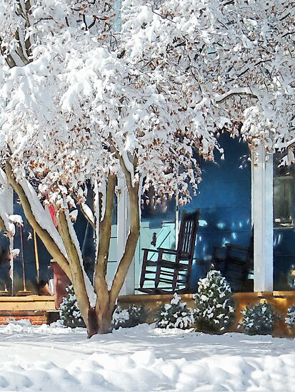 Rocking Chair on Porch in Winter by Susan Savad