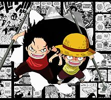 Fire Fist Ace and Straw Hat Luffy by Anuktoy