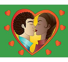 Lovers on green background Photographic Print