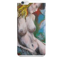 MASTERFUL Naked female body Original Painting on stretched canvas  iPhone Case/Skin