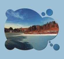 Frozen river panorama | waterscape photography Kids Clothes