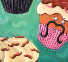 Flying Mustached Cupcakes Sticker