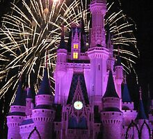 Disney Castle with Fireworks  by kattrzonca15