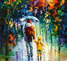 RAINY WALK WITH DADDY by Leonid  Afremov