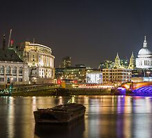 St Paul's Cathedral & Unilever House - London at Night by Kellie Netherwood