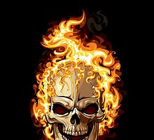 Skull in Flames by DeniDesign