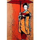 Red Umbrella Geisha by GENE .