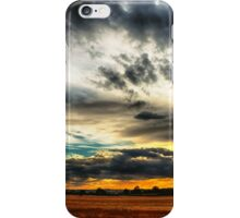 Sunset over wheat fields iPhone Case/Skin