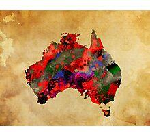 WATERCOLOR MAP of AUSTRALIA Photographic Print