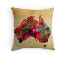 WATERCOLOR MAP of AUSTRALIA Throw Pillow