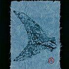 Mako Tail on Pale Blue Unryu Paper by IslandFishPrint