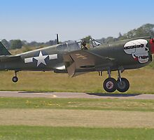 Curtiss P-40M Kittyhawk Touchdown - Shoreham 2013 by Colin J Williams Photography