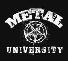 METAL UNIVERSITY VINTAGE T-SHIRT - WHITE DESIGN by Endlessgrief