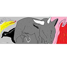 Social Commentary: Bullfighting -(150214)- Digital artwork/MS Paint Photographic Print