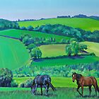 'Summer Grazing' Triptych (central) by HandsonHart