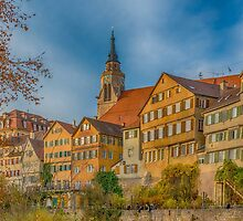 Tübingen - View from the Neckar Bridge 4 by Mark Bangert