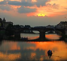 On the Arno at Sunset by Annette S Thomson