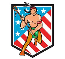 Native American Lacrosse Player Stars Stripes Shield by patrimonio