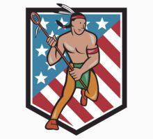 Native American Lacrosse Player Stars Stripes Shield T-Shirt
