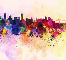 Montreal skyline in watercolor background by paulrommer