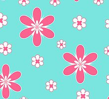 White pink floral pattern on blue by cycreation