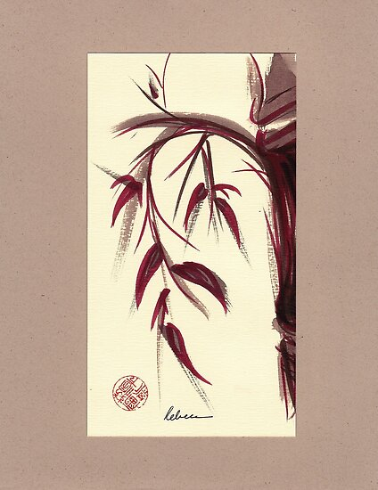 MUSE - Original Zen Ink Wash Sumi-e Asian Bamboo Painting by Rebecca Rees