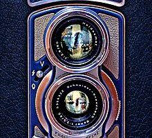 Vintage Classic Retro Blue Chrome Rolleiflex dual lens camera by Johnny Sunardi