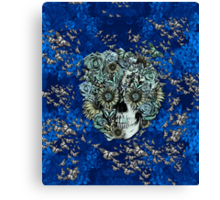 Royal Constant, floral butterfly skull Canvas Print