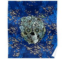 Royal Constant, floral butterfly skull Poster