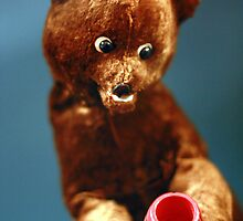 Vintage Doll Brown Bear with a Honey Pot by ARTificiaLondon