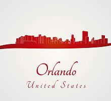 Orlando skyline in red by Pablo Romero