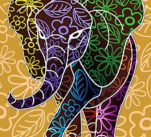 Elephant Floral Batik Art Design by BluedarkArt