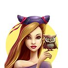 Girl with little cute owl by olarty