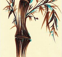 REFLECT -  Sumi-e ink brush pen Zen bamboo painting by Rebecca Rees