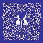 Royal Blue Rabbits Filigree Leaves by Donna Huntriss