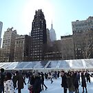 Bryant Park Skating Rink, Radiator Building, Empire State Building, New York City  by lenspiro