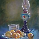 Lamp & Lemons Still Life by Lynda Robinson