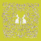 Yellow Gold Rabbits Filigree Leaves by Donna Huntriss