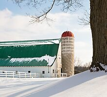 Winter Barn and Silo by Kenneth Keifer